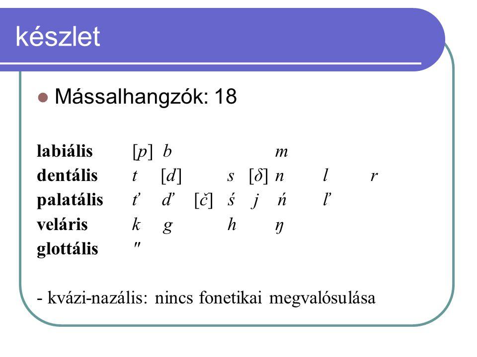 készlet Mássalhangzók: 18 labiális[p] bm dentális t [d]s [δ]nlr palatálisť ď [č] ś j ńľ velárisk ghŋ glottális