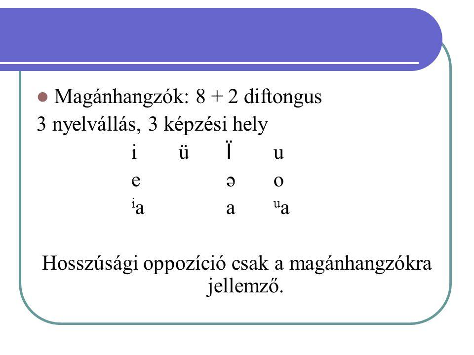 Magánhangzók: 8 + 2 diftongus 3 nyelvállás, 3 képzési hely iüÏuiüÏu eəoeəo iaauaiaaua Hosszúsági oppozíció csak a magánhangzókra jellemző.