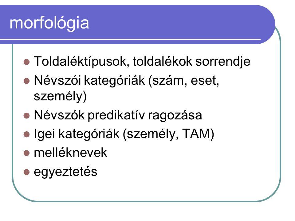 morfológia Toldaléktípusok, toldalékok sorrendje Névszói kategóriák (szám, eset, személy) Névszók predikatív ragozása Igei kategóriák (személy, TAM) m