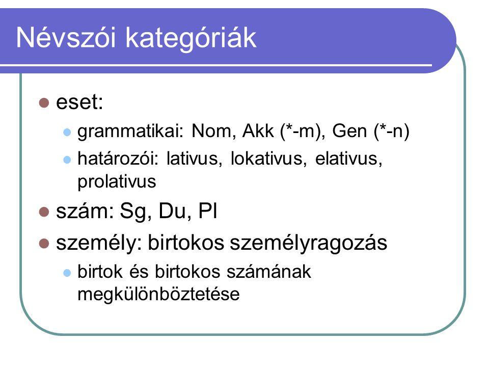 Névszói kategóriák eset: grammatikai: Nom, Akk (*-m), Gen (*-n) határozói: lativus, lokativus, elativus, prolativus szám: Sg, Du, Pl személy: birtokos
