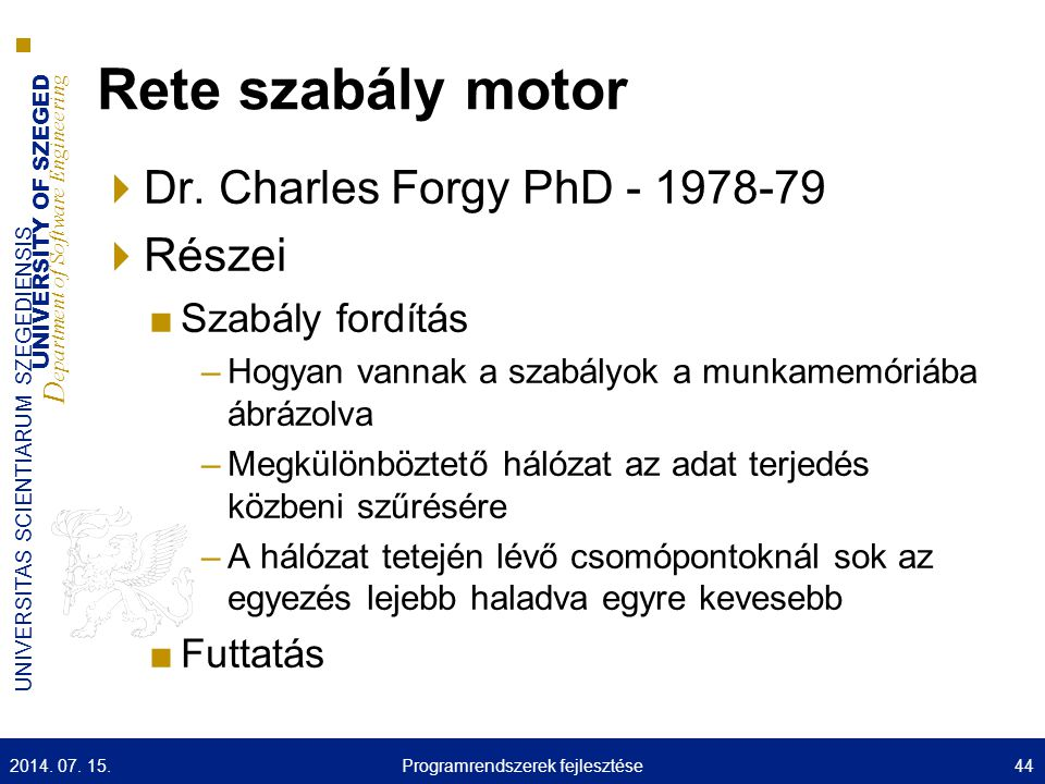 UNIVERSITY OF SZEGED D epartment of Software Engineering UNIVERSITAS SCIENTIARUM SZEGEDIENSIS Rete szabály motor  Dr.
