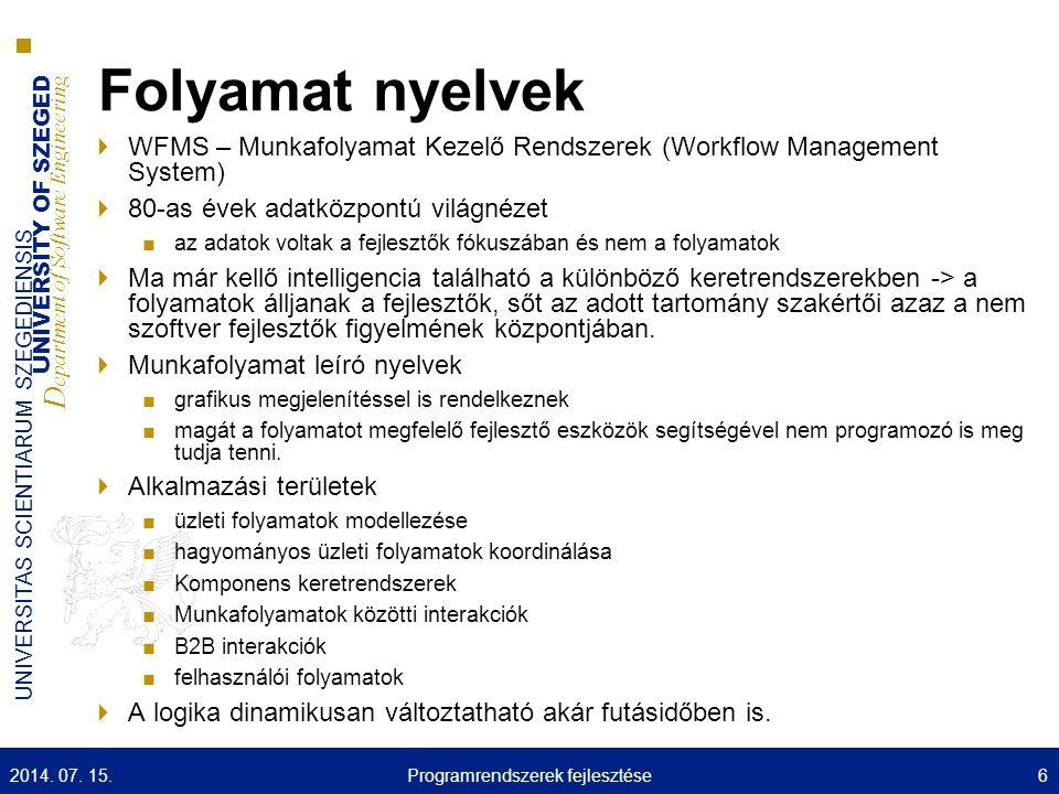 UNIVERSITY OF SZEGED D epartment of Software Engineering UNIVERSITAS SCIENTIARUM SZEGEDIENSIS Tartomány Specifikus nyelvek  SQL  BPEL 2014.