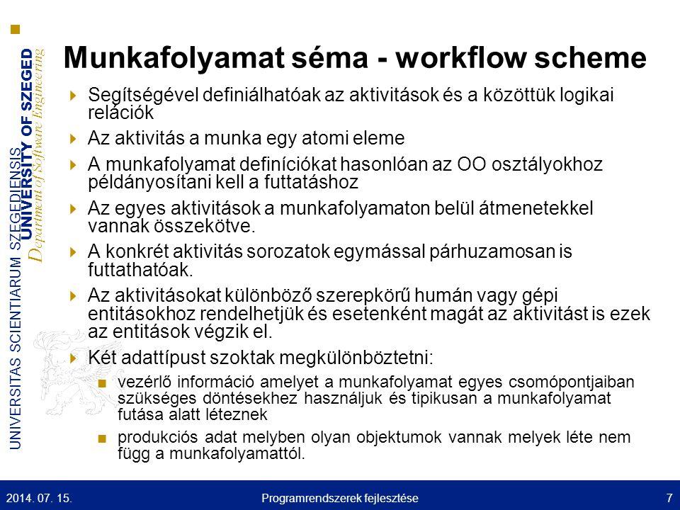 UNIVERSITY OF SZEGED D epartment of Software Engineering UNIVERSITAS SCIENTIARUM SZEGEDIENSIS Munkafolyamat séma - workflow scheme  Segítségével definiálhatóak az aktivitások és a közöttük logikai relációk  Az aktivitás a munka egy atomi eleme  A munkafolyamat definíciókat hasonlóan az OO osztályokhoz példányosítani kell a futtatáshoz  Az egyes aktivitások a munkafolyamaton belül átmenetekkel vannak összekötve.