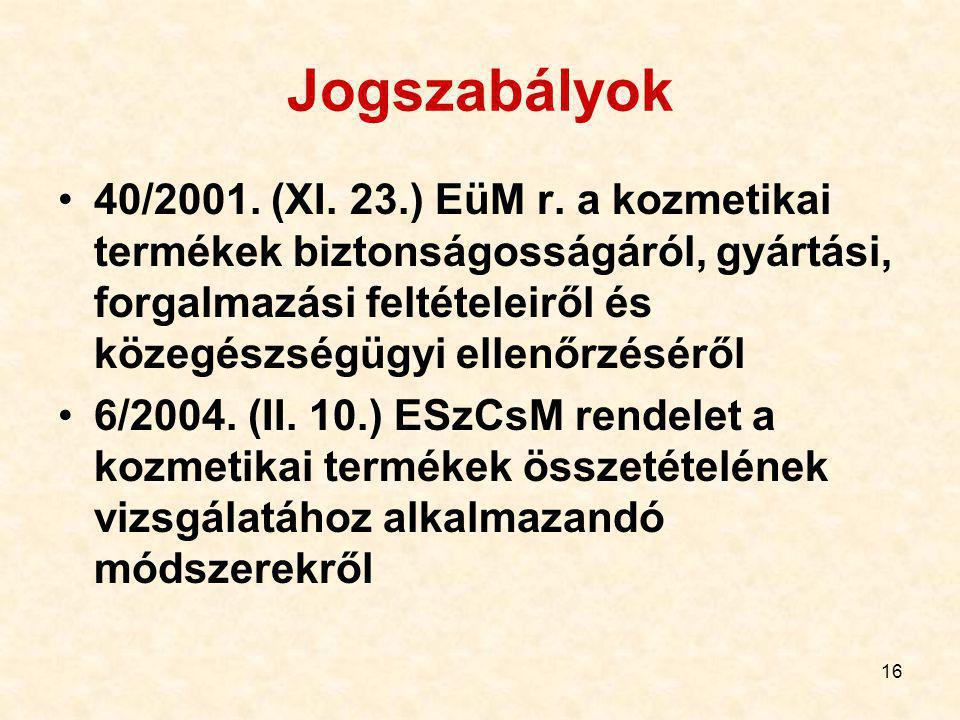 16 Jogszabályok 40/2001.(XI. 23.) EüM r.