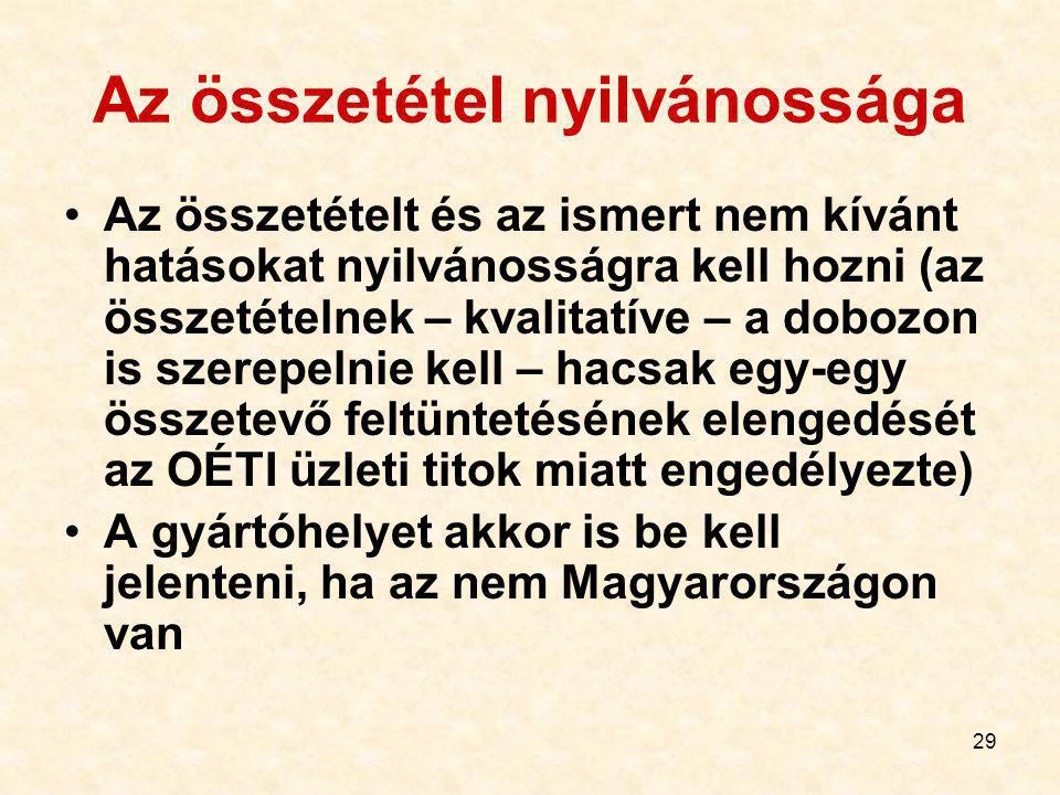29 Az összetétel nyilvánossága Az összetételt és az ismert nem kívánt hatásokat nyilvánosságra kell hozni (az összetételnek – kvalitatíve – a dobozon is szerepelnie kell – hacsak egy-egy összetevő feltüntetésének elengedését az OÉTI üzleti titok miatt engedélyezte) A gyártóhelyet akkor is be kell jelenteni, ha az nem Magyarországon van