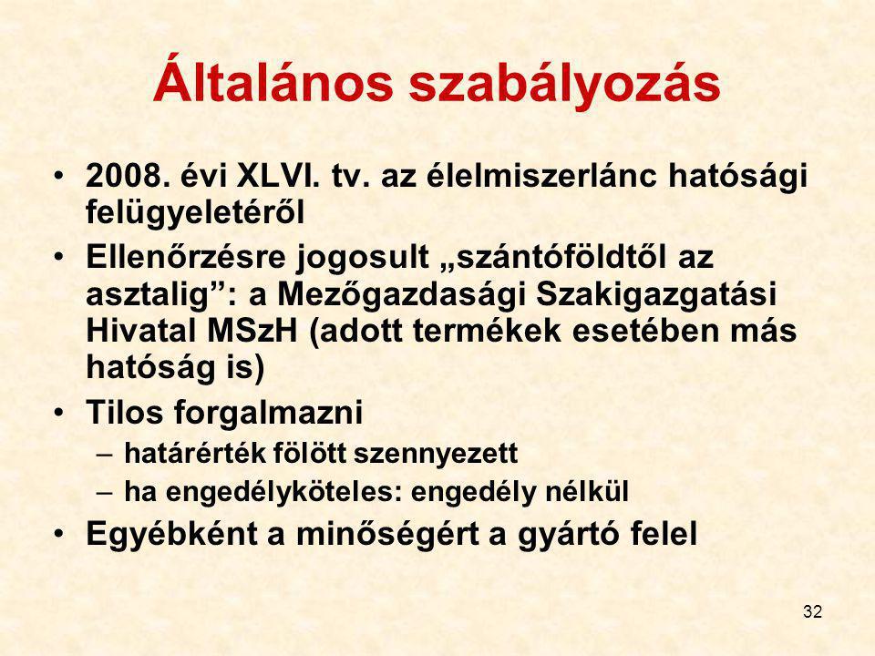 32 Általános szabályozás 2008.évi XLVI. tv.