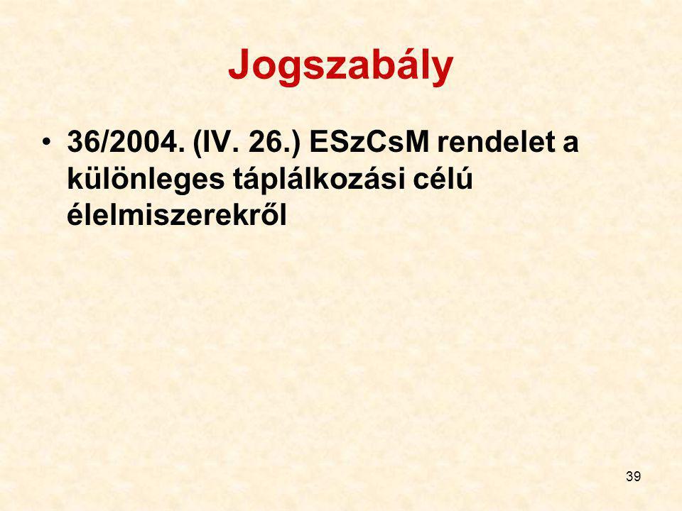 39 Jogszabály 36/2004. (IV. 26.) ESzCsM rendelet a különleges táplálkozási célú élelmiszerekről