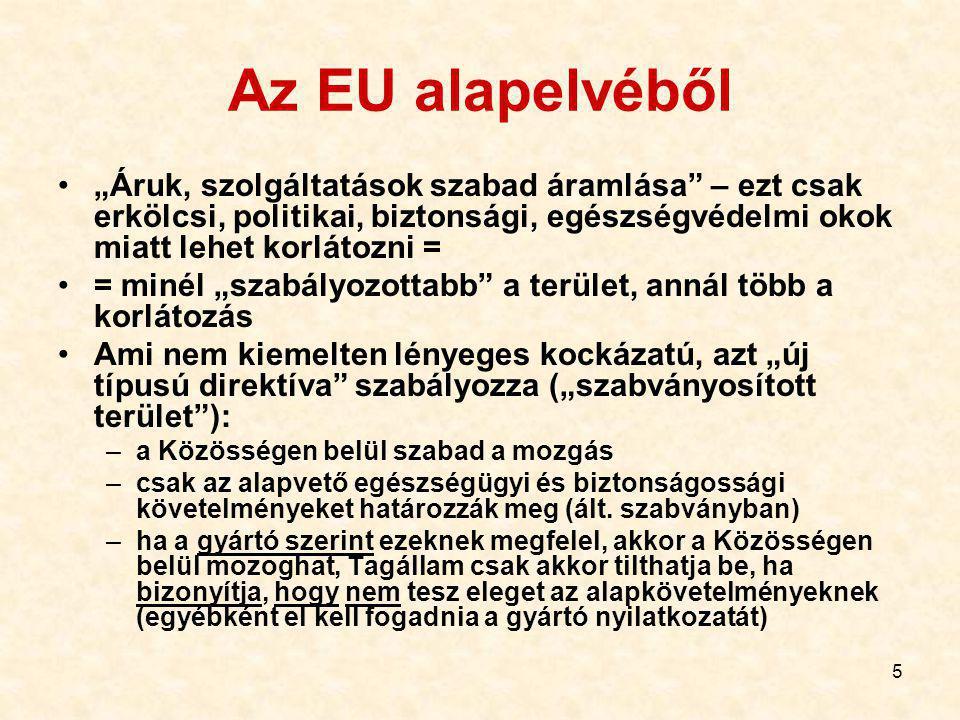 """5 Az EU alapelvéből """"Áruk, szolgáltatások szabad áramlása – ezt csak erkölcsi, politikai, biztonsági, egészségvédelmi okok miatt lehet korlátozni = = minél """"szabályozottabb a terület, annál több a korlátozás Ami nem kiemelten lényeges kockázatú, azt """"új típusú direktíva szabályozza (""""szabványosított terület ): –a Közösségen belül szabad a mozgás –csak az alapvető egészségügyi és biztonságossági követelményeket határozzák meg (ált."""