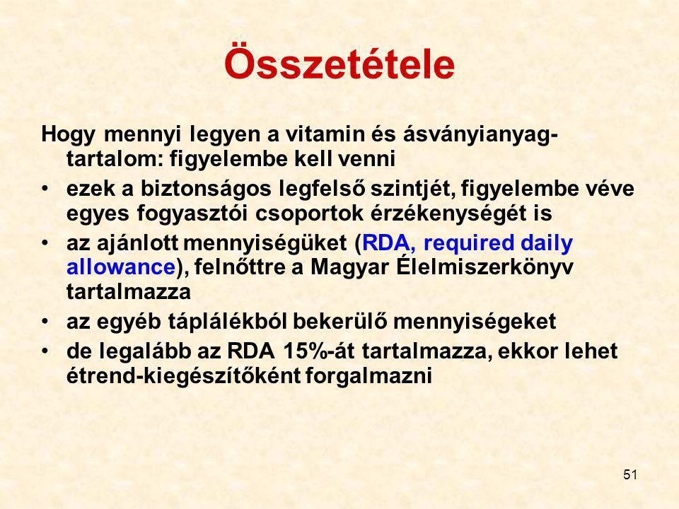 51 Összetétele Hogy mennyi legyen a vitamin és ásványianyag- tartalom: figyelembe kell venni ezek a biztonságos legfelső szintjét, figyelembe véve egyes fogyasztói csoportok érzékenységét is az ajánlott mennyiségüket (RDA, required daily allowance), felnőttre a Magyar Élelmiszerkönyv tartalmazza az egyéb táplálékból bekerülő mennyiségeket de legalább az RDA 15%-át tartalmazza, ekkor lehet étrend-kiegészítőként forgalmazni