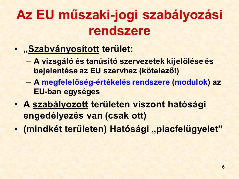 """6 Az EU műszaki-jogi szabályozási rendszere """"Szabványosított terület: –A vizsgáló és tanúsító szervezetek kijelölése és bejelentése az EU szervhez (kötelező!) –A megfelelőség-értékelés rendszere (modulok) az EU-ban egységes A szabályozott területen viszont hatósági engedélyezés van (csak ott) (mindkét területen) Hatósági """"piacfelügyelet"""