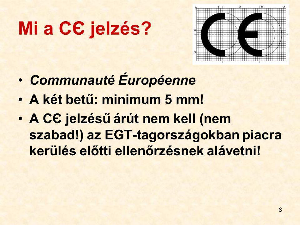 8 Mi a CЄ jelzés.Communauté Éuropéenne A két betű: minimum 5 mm.