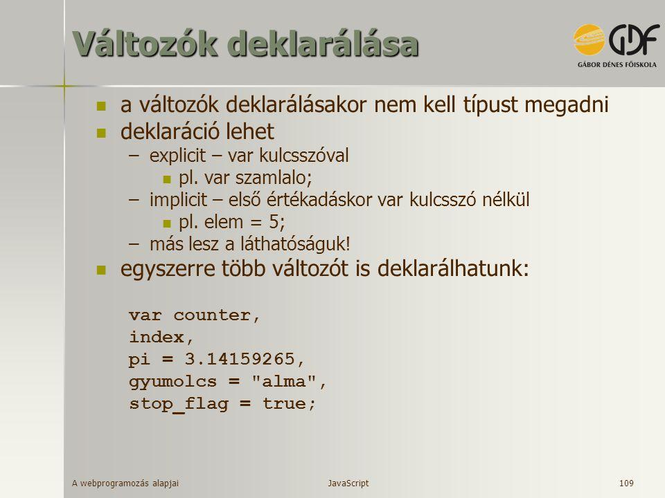 A webprogramozás alapjai 109 Változók deklarálása a változók deklarálásakor nem kell típust megadni deklaráció lehet –explicit – var kulcsszóval pl. v