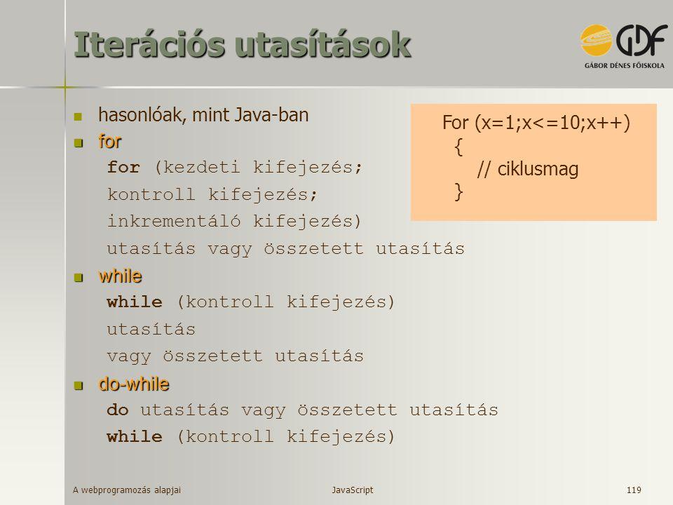 A webprogramozás alapjai 119 Iterációs utasítások hasonlóak, mint Java-ban for for for (kezdeti kifejezés; kontroll kifejezés; inkrementáló kifejezés)