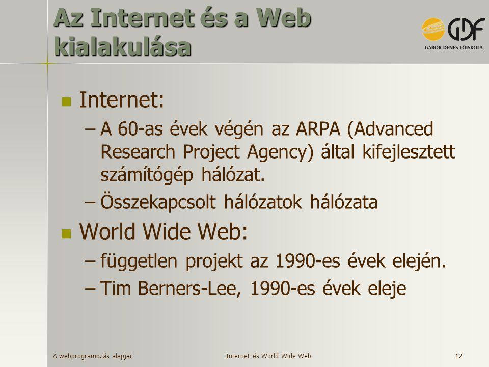 A webprogramozás alapjai 12 Az Internet és a Web kialakulása Internet: –A 60-as évek végén az ARPA (Advanced Research Project Agency) által kifejleszt