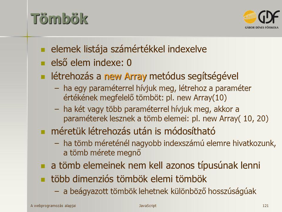 A webprogramozás alapjai 121Tömbök elemek listája számértékkel indexelve első elem indexe: 0 new Array létrehozás a new Array metódus segítségével –ha