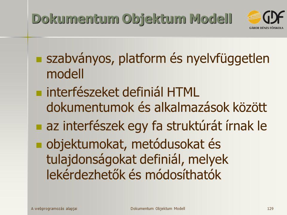 A webprogramozás alapjai 129 Dokumentum Objektum Modell szabványos, platform és nyelvfüggetlen modell interfészeket definiál HTML dokumentumok és alka
