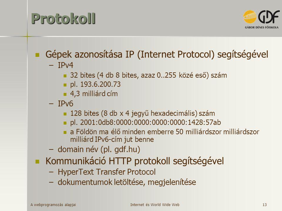 A webprogramozás alapjai 13Protokoll Gépek azonosítása IP (Internet Protocol) segítségével –IPv4 32 bites (4 db 8 bites, azaz 0..255 közé eső) szám pl