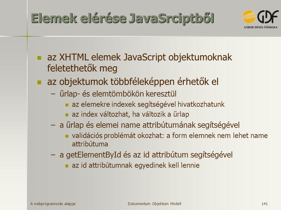 A webprogramozás alapjai 141 Elemek elérése JavaSrciptből az XHTML elemek JavaScript objektumoknak feletethetők meg az objektumok többféleképpen érhet