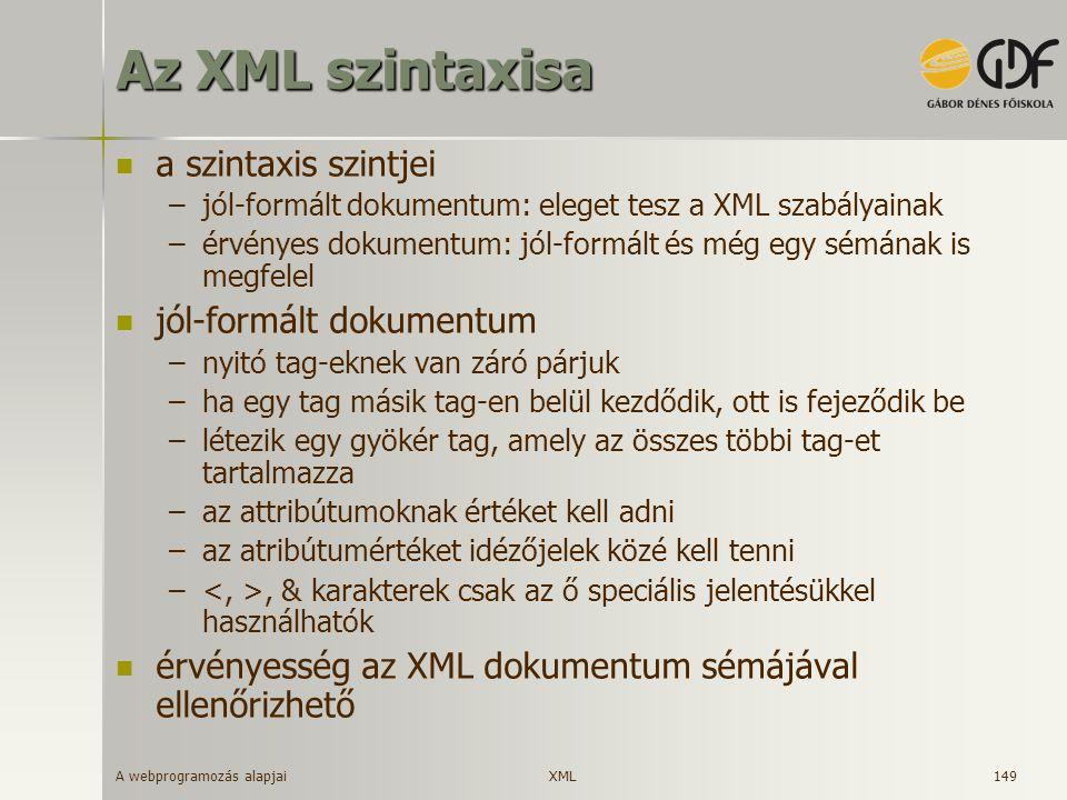 A webprogramozás alapjai 149 Az XML szintaxisa a szintaxis szintjei –jól-formált dokumentum: eleget tesz a XML szabályainak –érvényes dokumentum: jól-