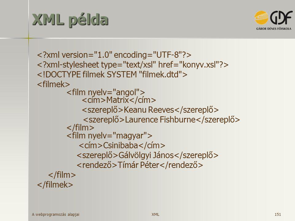 A webprogramozás alapjai 151 XML példa Matrix Keanu Reeves Laurence Fishburne Csinibaba Gálvölgyi János Tímár Péter XML