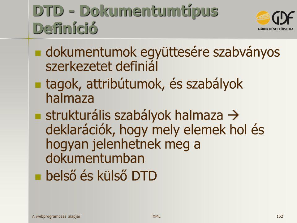 A webprogramozás alapjai 152 DTD - Dokumentumtípus Definíció dokumentumok együttesére szabványos szerkezetet definiál tagok, attribútumok, és szabályo
