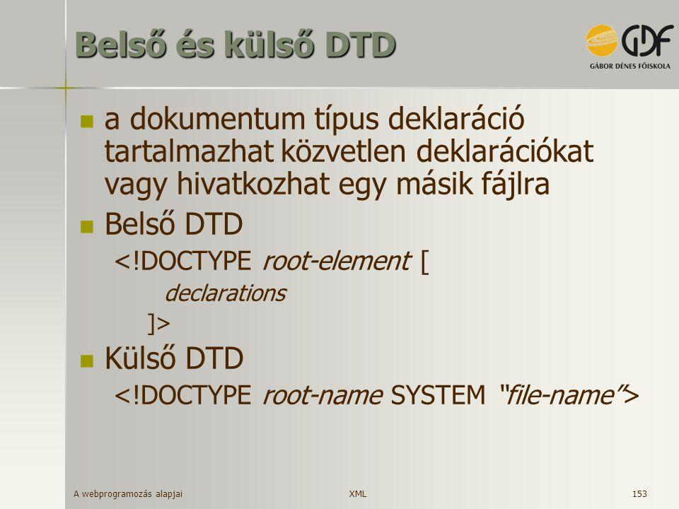 A webprogramozás alapjai 153 Belső és külső DTD a dokumentum típus deklaráció tartalmazhat közvetlen deklarációkat vagy hivatkozhat egy másik fájlra B