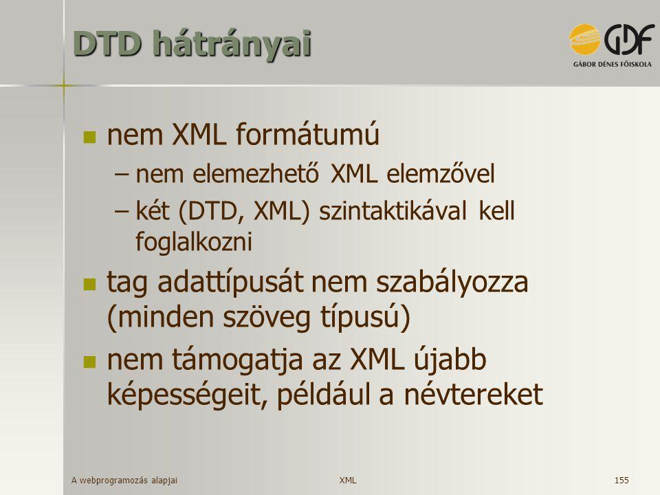 A webprogramozás alapjai 155 DTD hátrányai nem XML formátumú –nem elemezhető XML elemzővel –két (DTD, XML) szintaktikával kell foglalkozni tag adattíp