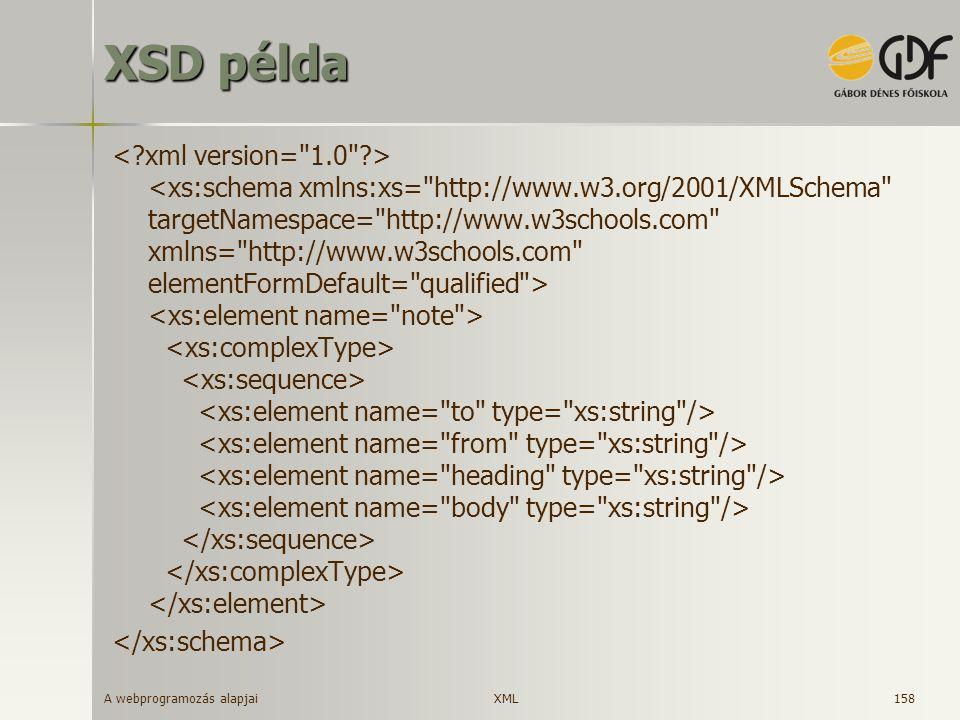 A webprogramozás alapjai 158 XSD példa XML