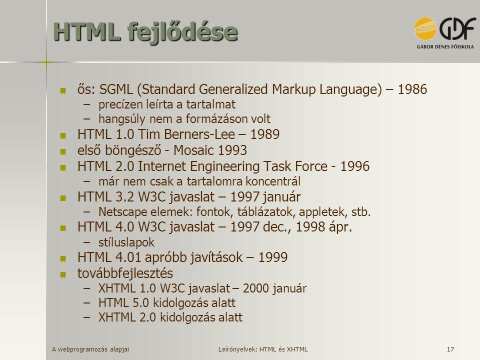 A webprogramozás alapjai 17 HTML fejlődése ős: SGML (Standard Generalized Markup Language) – 1986 –precízen leírta a tartalmat –hangsúly nem a formázá
