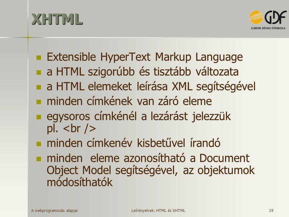 A webprogramozás alapjai 19XHTML Extensible HyperText Markup Language a HTML szigorúbb és tisztább változata a HTML elemeket leírása XML segítségével