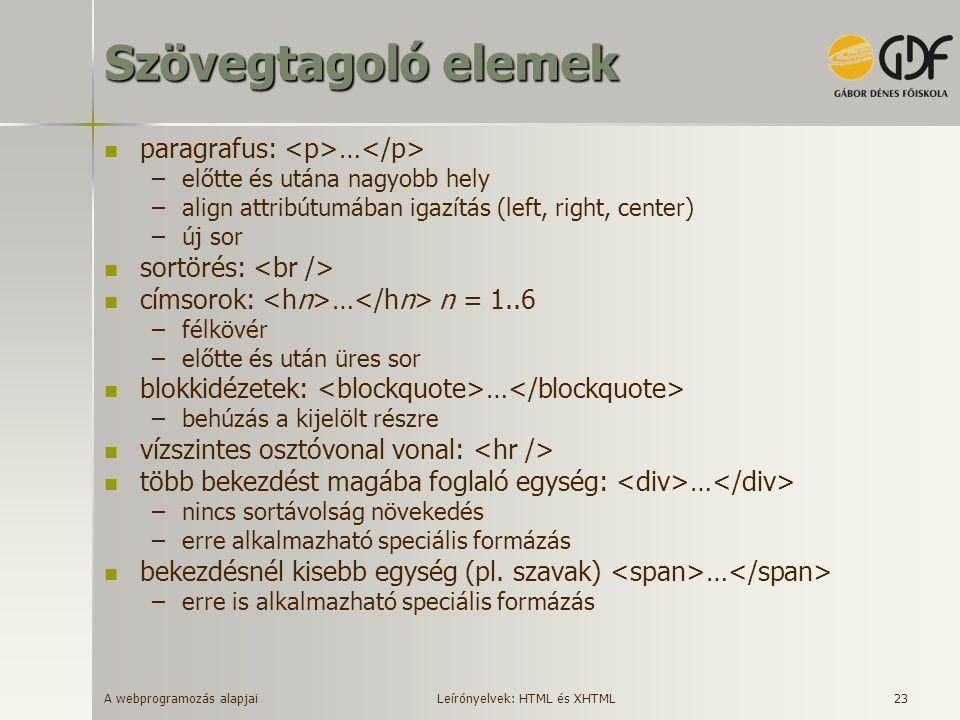 A webprogramozás alapjai 23 Szövegtagoló elemek paragrafus: … –előtte és utána nagyobb hely –align attribútumában igazítás (left, right, center) –új s