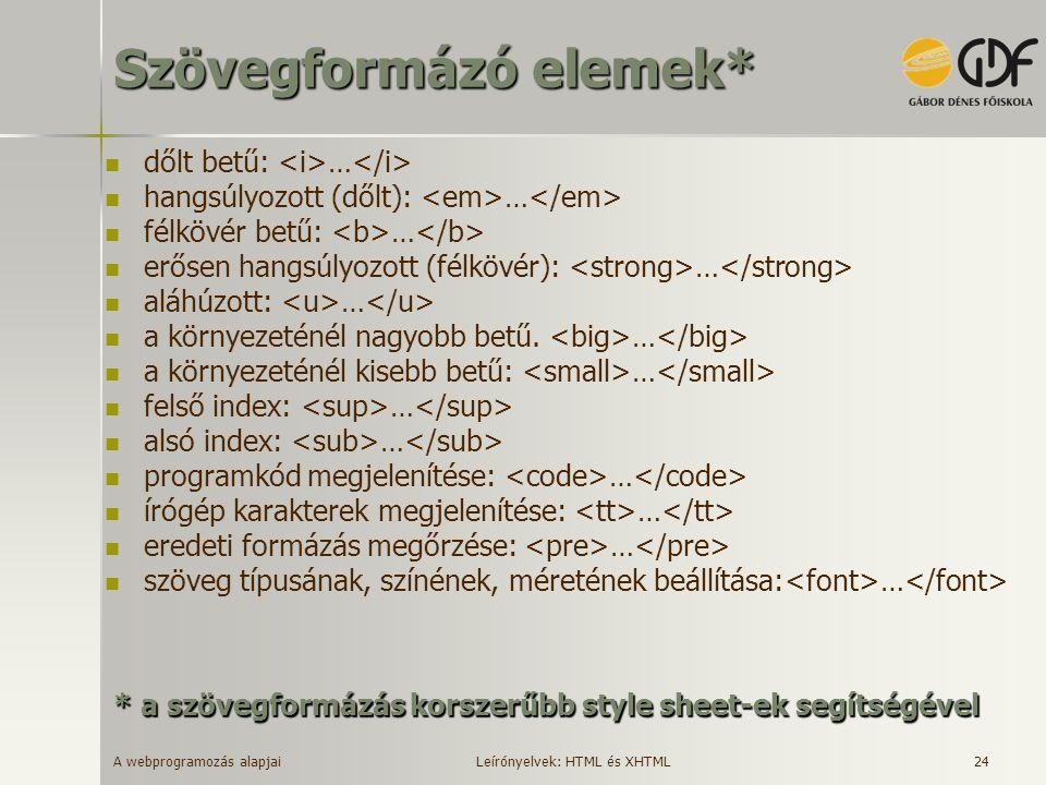 A webprogramozás alapjai 24 Szövegformázó elemek* dőlt betű: … hangsúlyozott (dőlt): … félkövér betű: … erősen hangsúlyozott (félkövér): … aláhúzott: