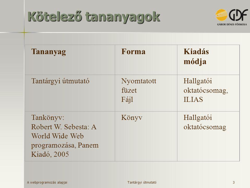 A webprogramozás alapjai 3 Kötelező tananyagok TananyagFormaKiadás módja Tantárgyi útmutatóNyomtatott füzet Fájl Hallgatói oktatócsomag, ILIAS Tanköny