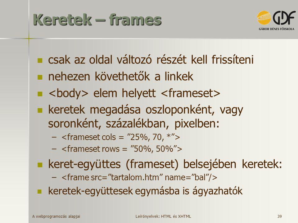 A webprogramozás alapjai 39 Keretek – frames csak az oldal változó részét kell frissíteni nehezen követhetők a linkek elem helyett keretek megadása os