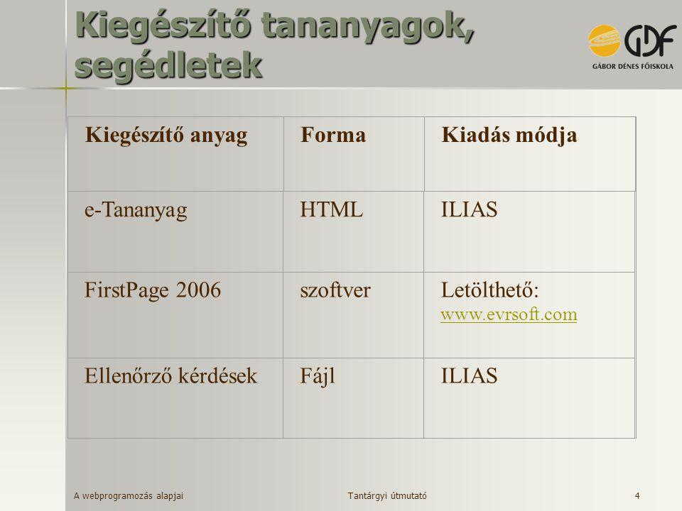 A webprogramozás alapjai 4 Kiegészítő tananyagok, segédletek Kiegészítő anyagFormaKiadás módja FirstPage 2006szoftverLetölthető: www.evrsoft.com www.e