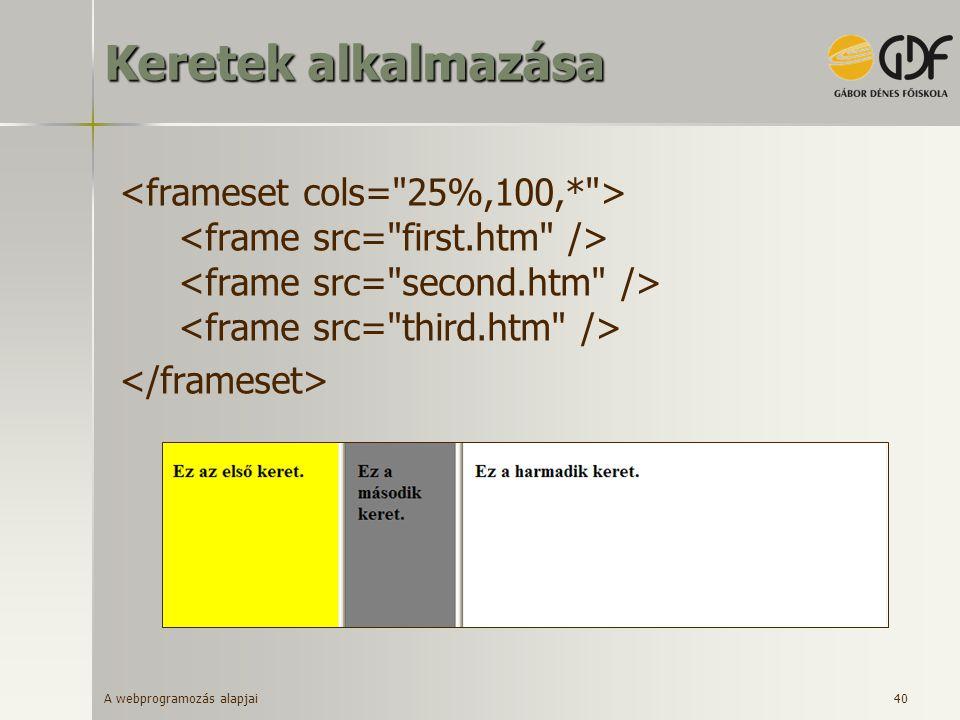 A webprogramozás alapjai 40 Keretek alkalmazása