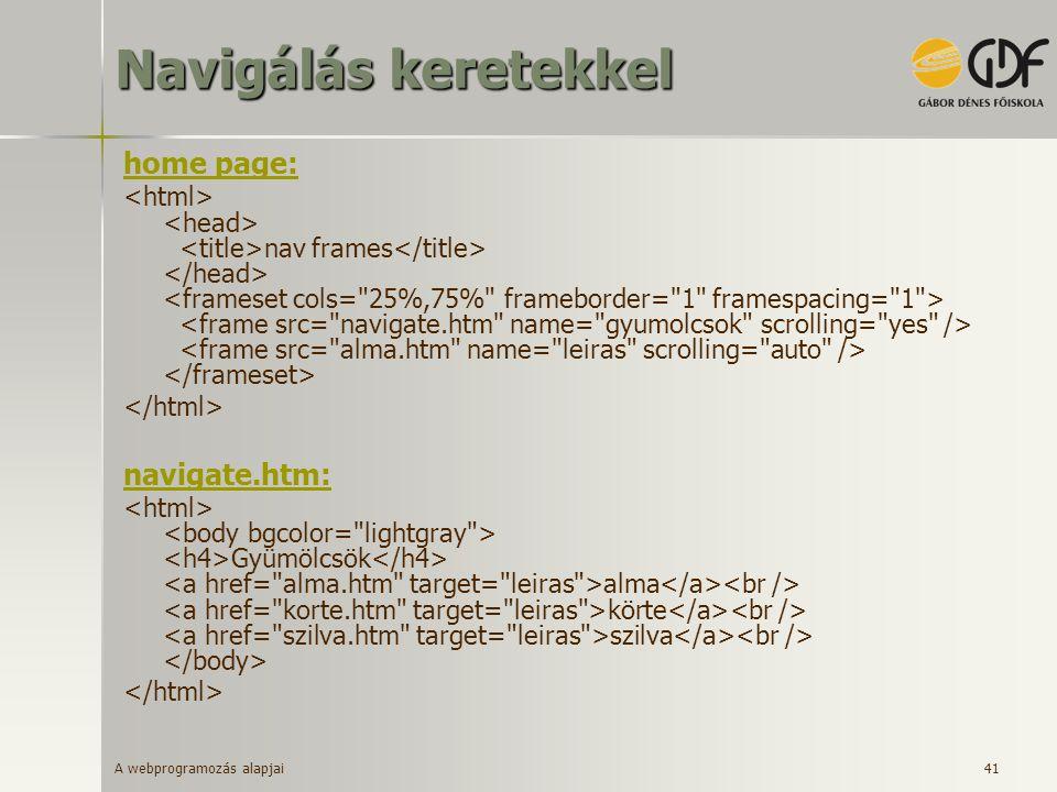 A webprogramozás alapjai 41 Navigálás keretekkel home page: nav frames navigate.htm: Gyümölcsök alma körte szilva