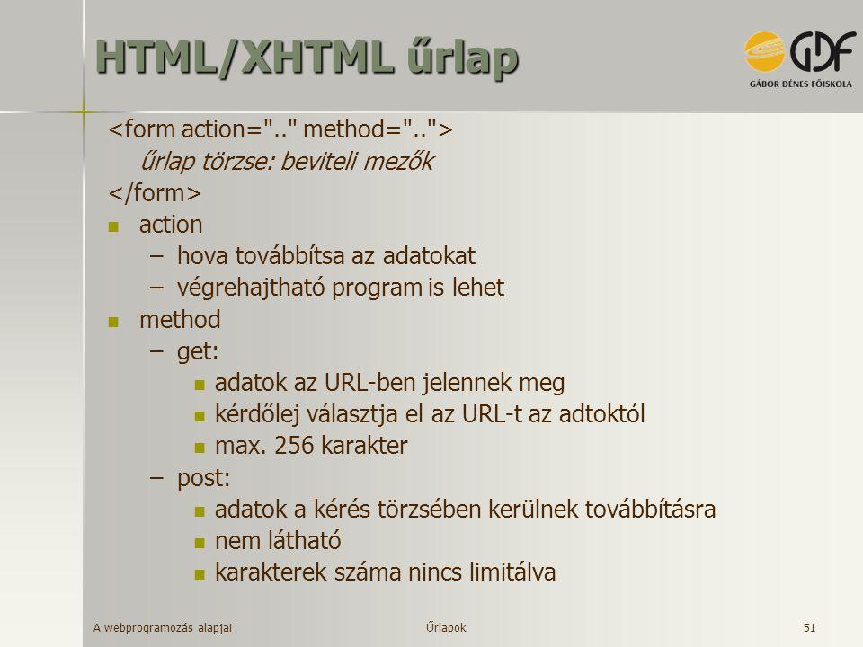 A webprogramozás alapjai 51 HTML/XHTML űrlap űrlap törzse: beviteli mezők action –hova továbbítsa az adatokat –végrehajtható program is lehet method –