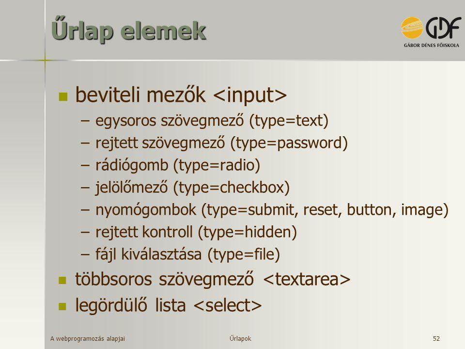 A webprogramozás alapjai 52 Űrlap elemek beviteli mezők –egysoros szövegmező (type=text) –rejtett szövegmező (type=password) –rádiógomb (type=radio) –