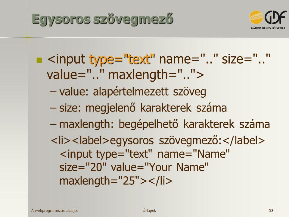 A webprogramozás alapjai 53 Egysoros szövegmező type=