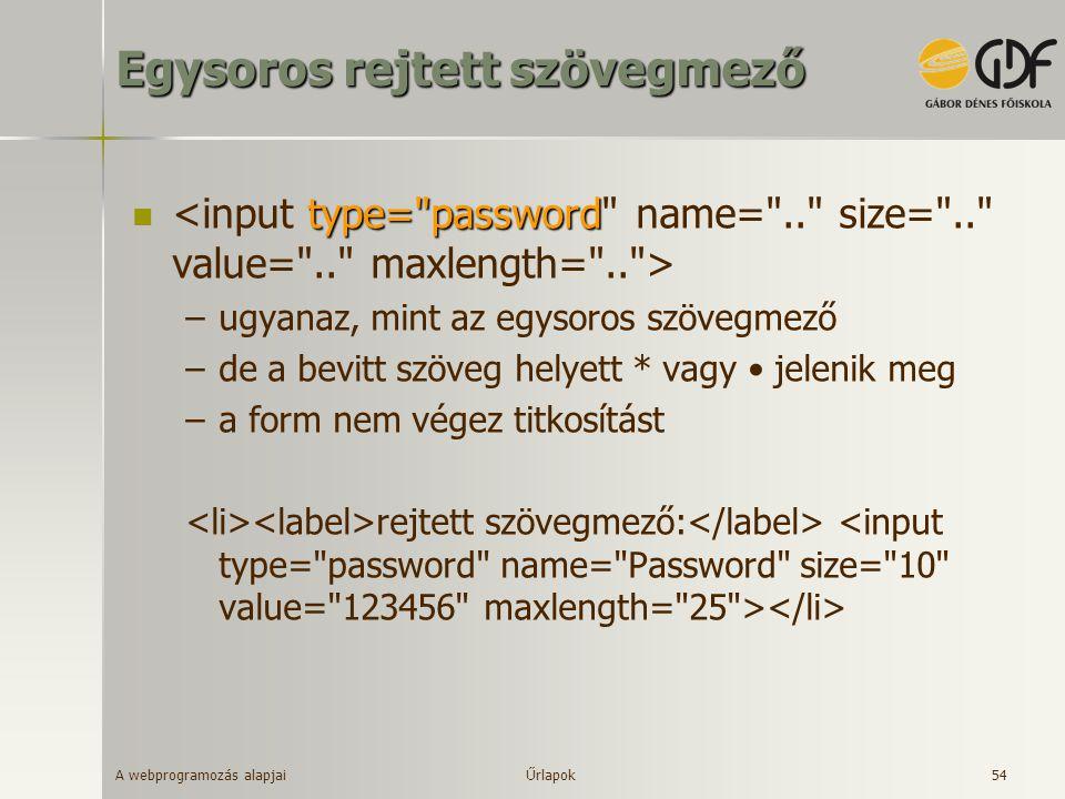 A webprogramozás alapjai 54 Egysoros rejtett szövegmező type=