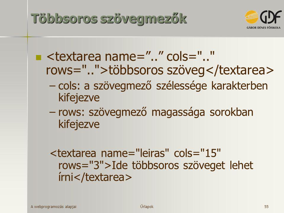 A webprogramozás alapjai 55 Többsoros szövegmezők többsoros szöveg –cols: a szövegmező szélessége karakterben kifejezve –rows: szövegmező magassága so