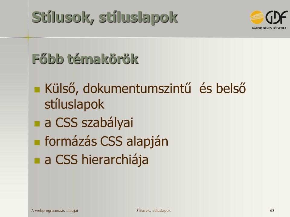 A webprogramozás alapjai 63 Főbb témakörök Külső, dokumentumszintű és belső stíluslapok a CSS szabályai formázás CSS alapján a CSS hierarchiája Stílus