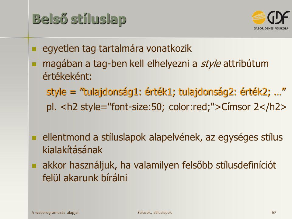 A webprogramozás alapjai 67 Belső stíluslap egyetlen tag tartalmára vonatkozik magában a tag-ben kell elhelyezni a style attribútum értékeként: style