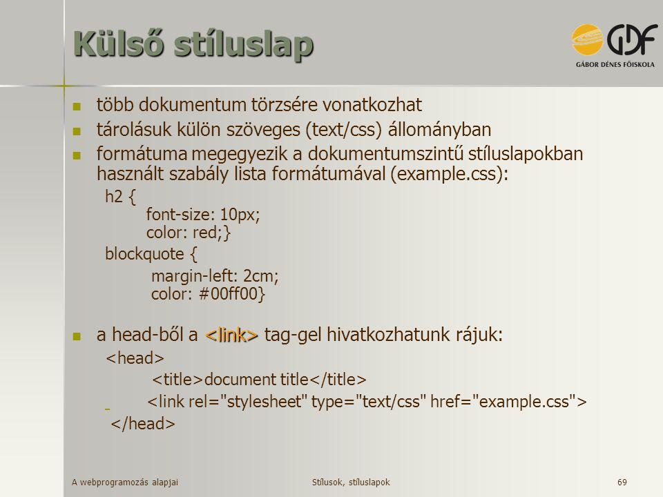 A webprogramozás alapjai 69 Külső stíluslap több dokumentum törzsére vonatkozhat tárolásuk külön szöveges (text/css) állományban formátuma megegyezik