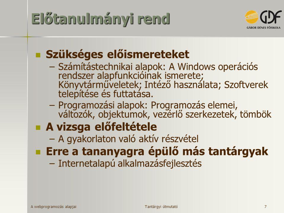 A webprogramozás alapjai 7 Előtanulmányi rend Szükséges előismereteket –Számítástechnikai alapok: A Windows operációs rendszer alapfunkcióinak ismeret