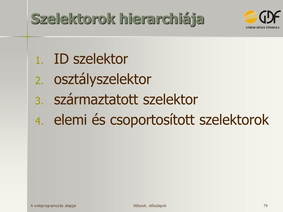 A webprogramozás alapjai 79 Szelektorok hierarchiája 1. ID szelektor 2. osztályszelektor 3. származtatott szelektor 4. elemi és csoportosított szelekt