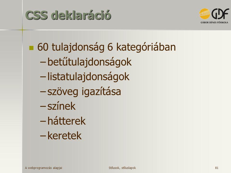 A webprogramozás alapjai 81 CSS deklaráció 60 tulajdonság 6 kategóriában –betűtulajdonságok –listatulajdonságok –szöveg igazítása –színek –hátterek –k