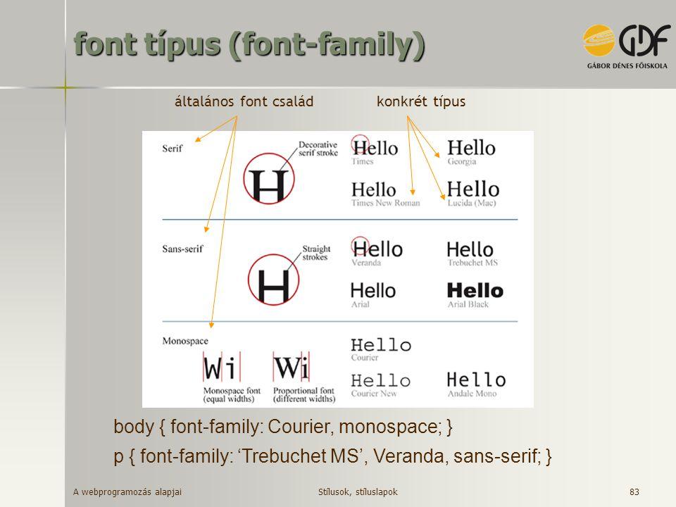 A webprogramozás alapjai 84 font méret (font-size) abszolút mértékegységgel –pt pont (1/72 inch in CSS2.1) –pc pica (1 pica = 12 points) –mm millimeter –cm centimeter –in inch relatív mértékegységgel –em aktuális fontméret ( m betű szélessége) –ex x betű magassága –px pixel –% kulcsszóval (xx-small, x-small,…, medium, …, xx-large) Stílusok, stíluslapok h1 { font-size: 150%; } h1 { font-size: 20pt; }