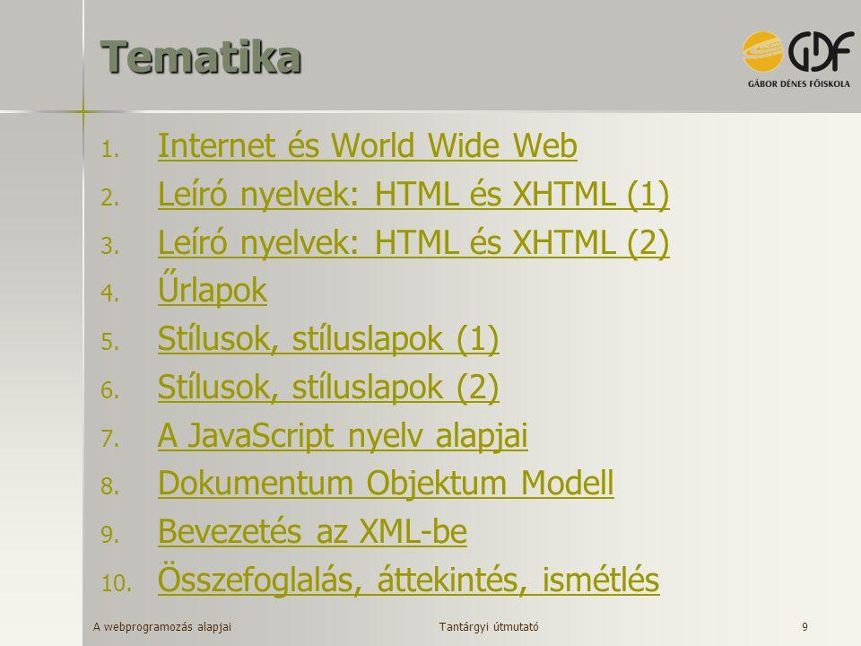 A webprogramozás alapjai 9Tematika 1. Internet és World Wide Web Internet és World Wide Web 2. Leíró nyelvek: HTML és XHTML (1) Leíró nyelvek: HTML és